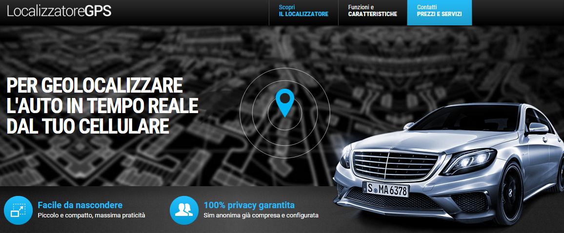 questo e' uno screenshot del sito sui localizzatori gps